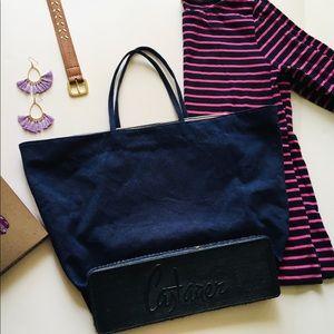 Castañer navy blue espadrille tote bag